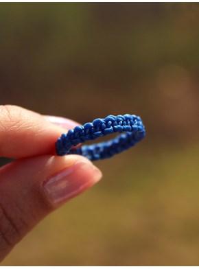 Anel Aliança em Macramê - Azul