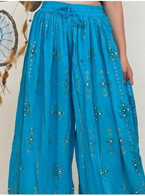 Calça Pantalona Azul Flor