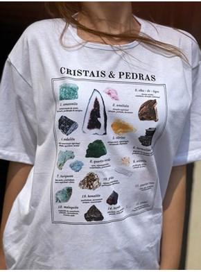 Camiseta Cristais e Pedras - Branca