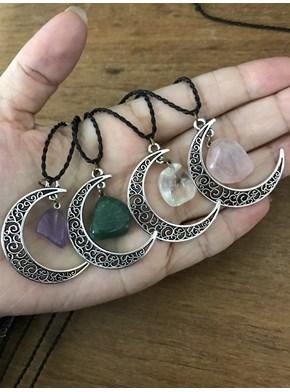Colar Amuleto Lua Pedra