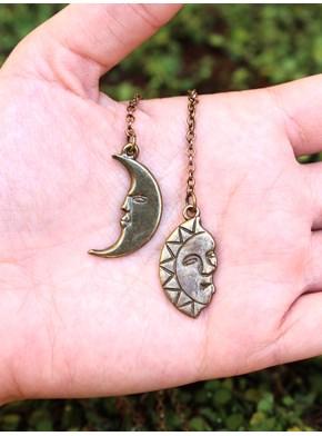Colar estilo Gravatinha Sol e Lua