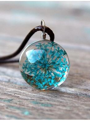 Colar Flor Lavanda Azul