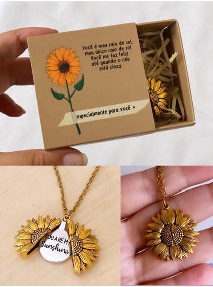 Colar Girassol - Relicário (Você é meu raio de Sol) - com embalagem