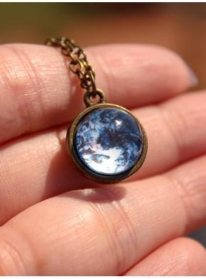 Colar Lua Cheia 3d Azulada - Bronze