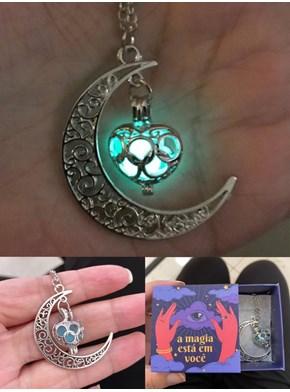 Colar Lua Encantada - Brilha no Escuro - Acompanha embalagem