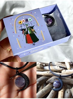 Colar Luna Wicca Ametista Textura - com embalagem
