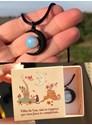 Colar Luna Wicca Opalina Textura - com embalagem