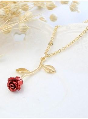 Colar Rosa - Banhado Ouro - Acompanha embalagem
