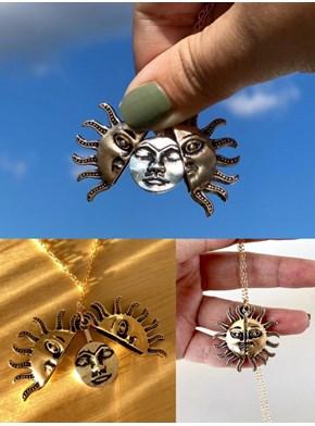 Colar Sol e Lua Cheia - Relicário