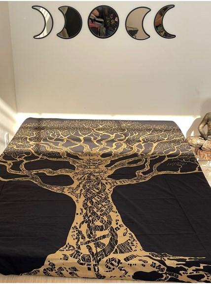 Colcha Indiana Casal Árvore Dourada