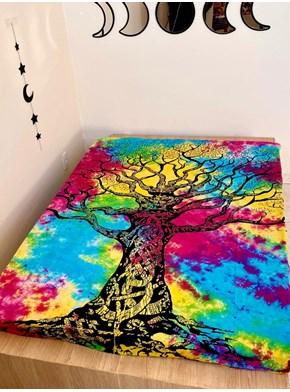 Colcha Indiana Casal Árvore Tie Dye