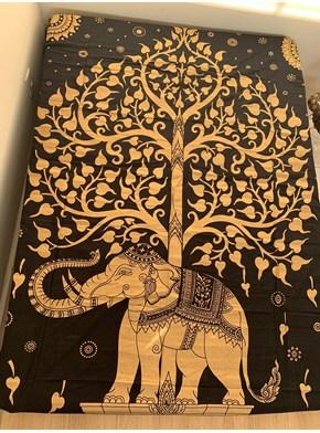 Colcha Indiana Casal Elefante Dourado