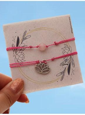 Conjunto 2 Pulseiras Flor de Lótus com Quartzo Rosa