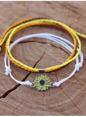 Conjunto 2 Pulseiras Girassol - Amarelo