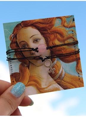 Conjunto 2 Pulseiras Quartzo Rosa + Espelho Vênus