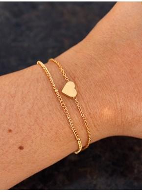 Conjunto com 2 pulseiras Coração - Delicado