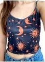 Cropped Alça Sol, Lua e Estrelas