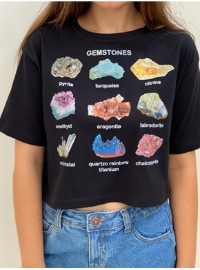 Cropped Comfy Gemstones Preta