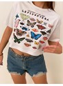 Cropped Comfy Lepidoptera - Branca