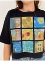 Cropped Comfy Van Gogh - Preta