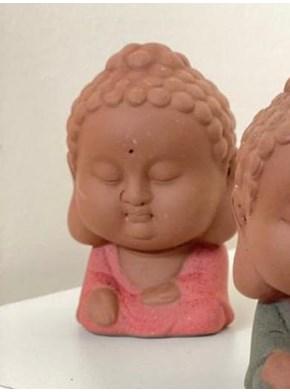 Escultura Buda Cerâmica - Vermelho