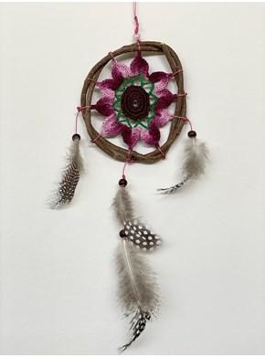 Filtro dos Sonhos Flor Rosa Crochê