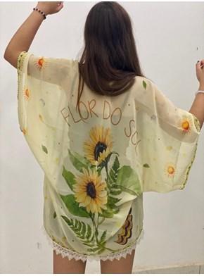 Kimono Amarelo Flor do Sol