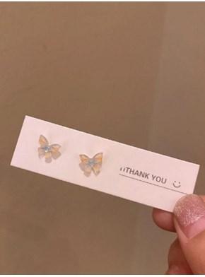 Par de Brincos borboleta amarela- prata tibetana