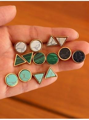 Par de Brincos Minimalista - Escolha a pedra