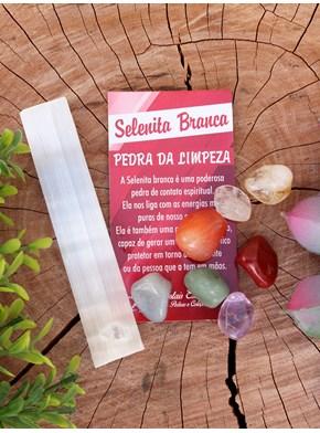 Pedra Selenita Branca + Pedras dos Chakras