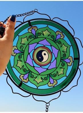 Porta vela Suspenso com Vitral Yin Yang
