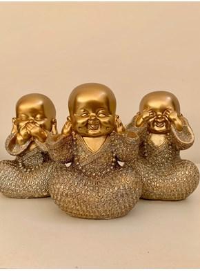 Trio de Budas Dourado com Brilho