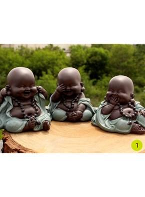 Trio de Budas Felicidade - Verde