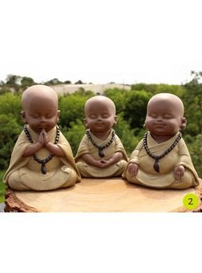 Trio de Budas Meditação - Amarelo