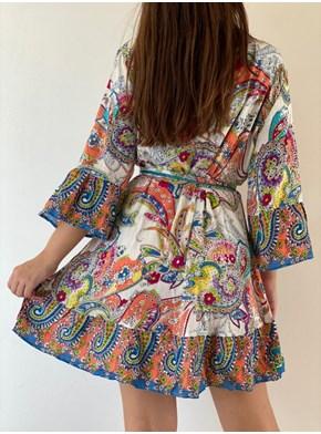 Vestido Indiano Floral transpassar